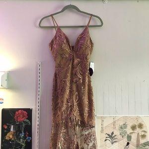 Windsor caramel goddess lace fishtail formal gown
